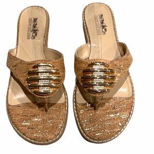 Coach And Four Cork/Gold/Rhinestones sandal